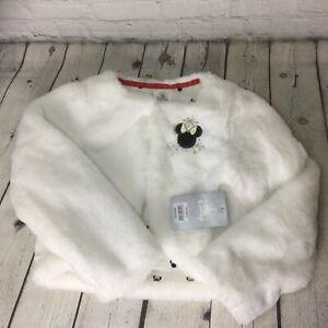 NWT Disney Minnie Mouse White Fuzzy Faux Fur Shrug Jacket Girl's Size 5/6 T