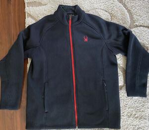 Spyder XL Constant Foremost Mens Full Zip Mid Weight Pocket Fleece Jacket Black