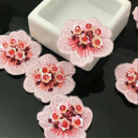 3D Flower Blossom Sequins Beaded Applique For Corsage ,DIY Craft Project 5 Pc