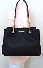 Michael Kors Teagen Long Drop 100 Leather Chain Satchel Shoulder Bag Black