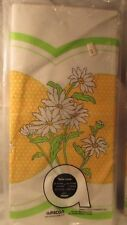 "Vintage Wild Daisies with Yellow Polk-A-Dots Paper Table Cover Nos 54"" x 88"""