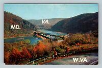 Harpers Ferry WV, Shenandoah River Joins Potomac, Chrome West Virginia Postcard