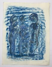 Salvador Benitez, Signed Original Abstract Figures Blue Drawing, Puerto Rico Art