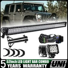 "Dual 300W 52"" + 4"" LED Light Bars w/ Roof Windshield Bracket 07-17 Jeep Wrangler"