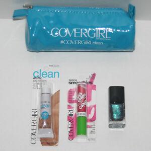 Covergirl Makeup Case, Clean Matte BB 550, Smoochies 575, Teal Nail Polish 55