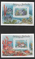 ANTIGUA & BARBUDA , 1990 , FISH , SET OF 2 S/S , MNH , CV$13,50