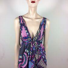 Tibi New York Donna Abito L 40 Viola Lillà Blu Seta Paisley Empire Couture