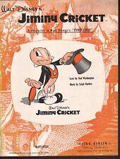 Jiminy Cricket 1939 Pinocchio Sheet Music