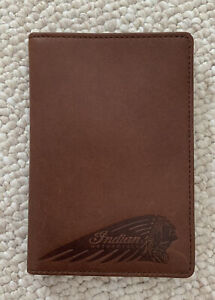 New Indian Motorcycle Biker Brown Leather Passport Holder