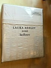 New Laura Ashley Bedset Super King Duvet 2 Pillowcases Braxton Seersucker White