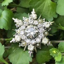 Antique Rhinestone & Pearl Filigree Pin