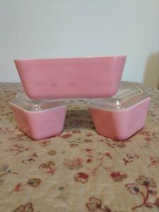 Set Of (3) Pyrex Refrigerator Pink Casserole Dishes 0501 & 0502 (c4)