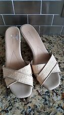 "Easy Spirit ""SAILRIDER"" Taupe Raffia Cross Strap Slide Sandals Women's Size 8.5"