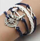 Damen Herren Vintage Leder Armband Wickelarmband Armschmuck Lederkette #Anker