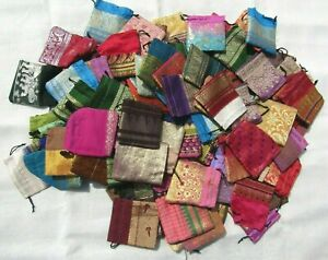 100 x Recycled Pouches Party, Favor, Wedding Bags Sari Fabric Pouches 3 Inches