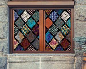3D Graffiti Squa I216 Window Film Print Sticker Cling Stained Glass UV Block Ang