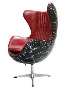 Aviator Egg Chair Aluminium Shell Retro In Black/Red Fast Del Real Leather