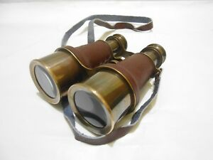 Nautical Marine Brown Leather Solid Brass Binocular Maritime Antique Finish Gift