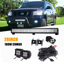 "28INCH LED LIGHT BAR+2x4""INCH 18W POD Off road Truck Polaris ranger 900 Ford ATV"