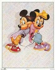 Mickey and Minnie Mouse Flirt 1980's Rare  Poster