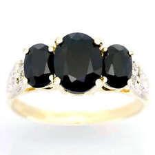 Yellow Gold Natural Sapphire Three-Stone Fine Rings