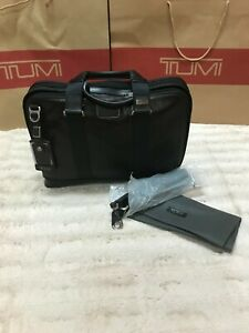 New Tumi Andrews Slim Brief Laptop Business Bag Distressed Leather Black
