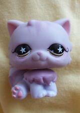 Littlest Pet Shop Cat Lila Rosa Persa ojos con estrellas #891