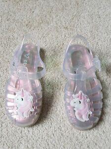 Next Girls Unicorn Jelly Sandals Size 9