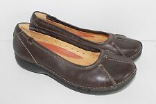 Clarks Unstructured Womens Brown Leather Slip On Loafer Shoe size 7.5M