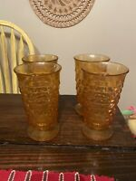 """4 Indiana Glass Amber Cubist White Hall Colony 6""""  Footed Ice Tea Water Glasses"""