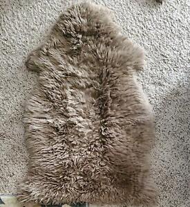 100% Genuine Sheepskin Rug, Taupe Lamb Skin, Australian Sheep Rug, Size 2 X 3 ft