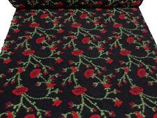 Stoff Musterwalk Walkloden Kochwolle Relief Blumen Ranken schwarz rot grün