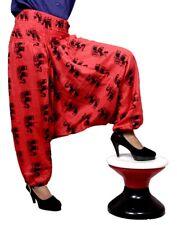 Red Cotton Elephant Print Genie Harem UK Baggy Boho Gypsy Trousers Yoga Pants