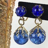 Vintage Earrings Cobalt Blue Glass Marble Dangle Gold Tone Prong Set Estate