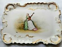 Antique Limoges Painted Porcelain Platter Tray Lady Playing Lute Signed H. Huet