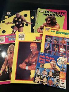 WWF Lot Folder Notebook Coloring Books Dusty Rhodes Hulk Hogan Warrior Savage