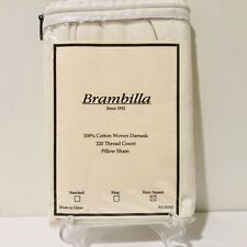 Brambilla 100% Cotton Euro Pillow Sham Woven Damask Ivory 220 Thread Count- New