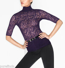 WOLFORD ROSARIA SHIRT, LACE TOP, MEDIUM, BLACK, New in box