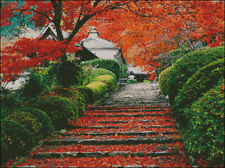 "Goldmilky Cross stitch kit ""Autumn Color on Japanese Temple""  20 x15"" (a30)"