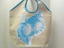 Low Tide Jute Tote Beach Bag by Mud Pie, Natural, Shell Design, Extra Large, NWT