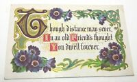 """VINTAGE GREETING POSTCARD MOTTO """"THOUGH DISTANCE MAY SEVER...""""EMBOSSED 1912"""