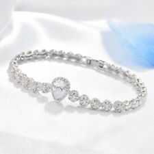 Crystal Silver Tennis Bracelet Jewelry Antique Womens Bridal Sparkly Sapphire
