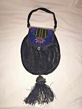 Vintage Large Beaded Velvet Purse Miser Beggar Bag Antique