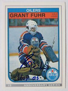 Grant Fuhr HOF Signed Auto 1992 O-Pee-Chee Anniversary 1982 Rookie Card JSA