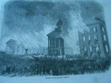 Gravure 1854 - Incendie du palais législatif à Québec