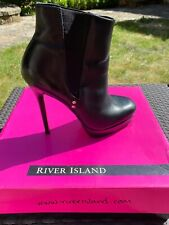 River Island Platform Sole High Heeled Leather Boots 6 / 39
