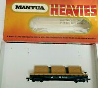 HO Scale Mantua Heavies Flat car with 3 wooden crate load  vintage CR   34381