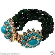 Kenneth Jay Lane Emerald Bead Multi Row Gold turquoise rhinestone bracelet