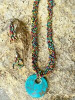 Western Seed Beaded Multi Woven Strand Necklace Turquoise Pendant Earrings Boho