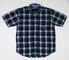 Disney Tigger Men's Green Tartan Plaid Short Sleeve Button Down Shirt Large